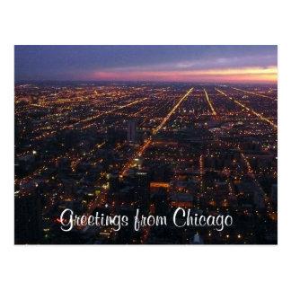 chicago night lights postcard