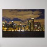 Chicago Night Skyline Posters