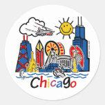 Chicago-NIÑOS [convertidos] Etiqueta Redonda