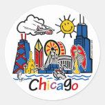 Chicago-NIÑOS [convertidos] Pegatina Redonda