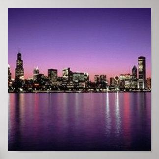 Chicago Nitetime Skyline Poster