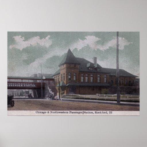 Chicago & Northwestern Railway Station Poster