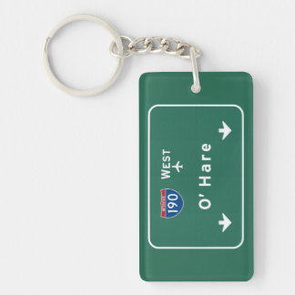 Chicago O'Hare Airport I-190 W Interstate Illinois Keychain