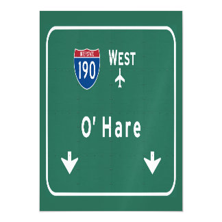 Chicago O'Hare Airport I-190 W Interstate Illinois Magnetic Card