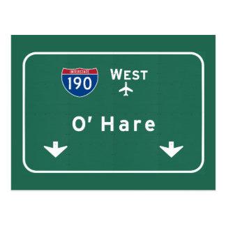 Chicago O'Hare Airport I-190 W Interstate Illinois Postcard