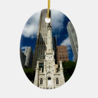 Chicago Old Water Tower Double-Sided Oval Ceramic Christmas Ornament