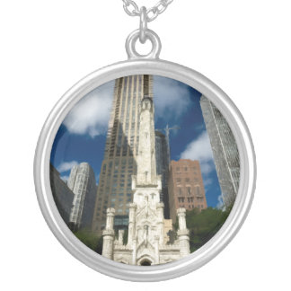 Chicago Old Water Tower Round Pendant Necklace