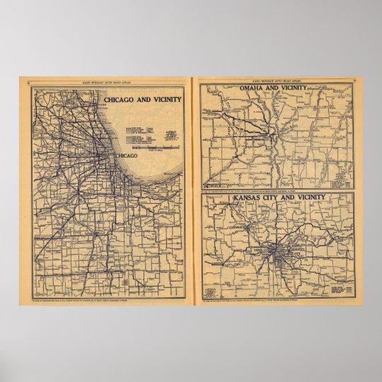 Chicago, Omaha, Kansas City Poster