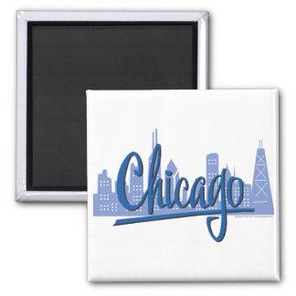 Chicago-Oscuro-Azul Imán Cuadrado