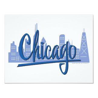 """Chicago-Oscuro-Azul Invitación 4.25"""" X 5.5"""""""