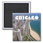 Chicago panoramic view 2 inch square magnet