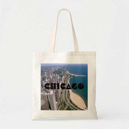 Chicago panoramic view canvas bag