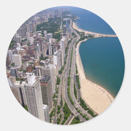 Chicago panoramic view classic round sticker