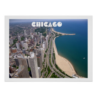 Chicago panoramic view poster print