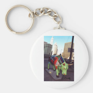 Chicago Parade of Cows Basic Round Button Keychain