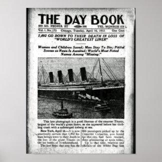 Chicago periódico 16 de abril de 1912 titánico impresiones