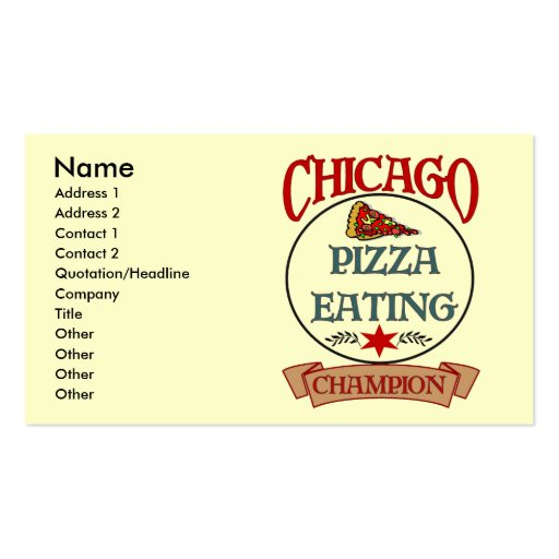 Chicago Pizza Eating Champ Business Card