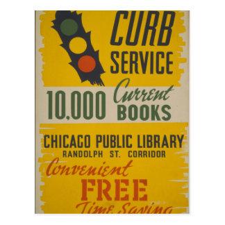 Chicago Public Library Curb Service Postcard