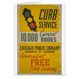 Chicago Public Library Curb Service Poster Greeting Cards