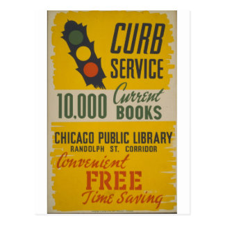 Chicago Public Library Curb Service Poster Postcard