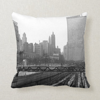 Chicago Rail Yards 1960's Michigan Avenue Throw Pillow