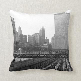 Chicago Rail Yards Downtown Railroad Throw Pillow