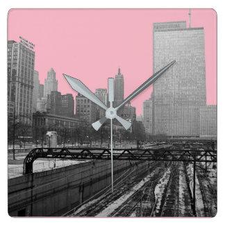 Chicago Rail Yards Michigan Avenue 1960's Photo Square Wall Clock