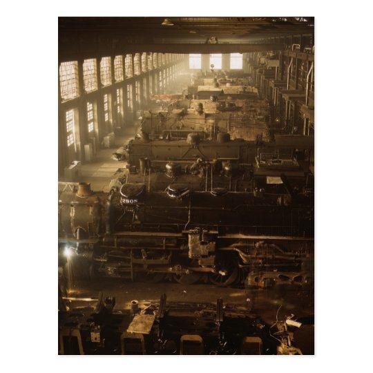 Chicago Railway Locomotive Shop Postcard