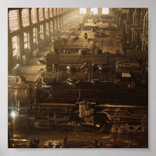 Chicago Railway Locomotive Shop Poster