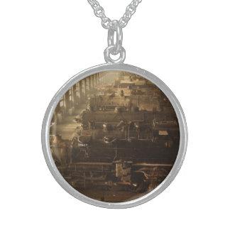 Chicago Railway Locomotive Shop Round Pendant Necklace