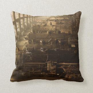 Chicago Railway Locomotive Shop Throw Pillow