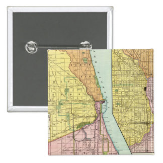 Chicago Railway Terminal Map 2 Inch Square Button