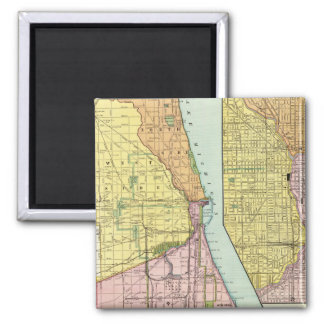 Chicago Railway Terminal Map 2 Inch Square Magnet