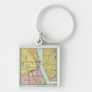 Chicago Railway Terminal Map Silver-Colored Square Keychain