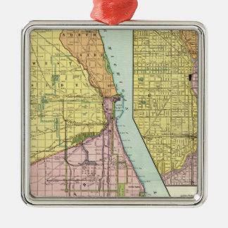 Chicago Railway Terminal Map Metal Ornament