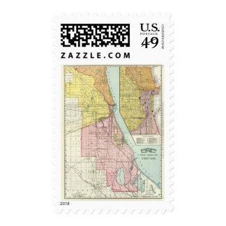 Chicago Railway Terminal Map Postage Stamp