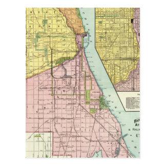 Chicago Railway Terminal Map Postcard