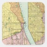 Chicago Railway Terminal Map Square Sticker