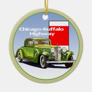 Chicago - rastro auto nacional de la carretera del adorno redondo de cerámica