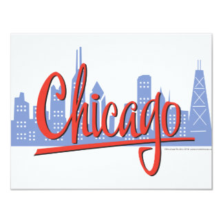 CHICAGO-RED 4.25X5.5 PAPER INVITATION CARD