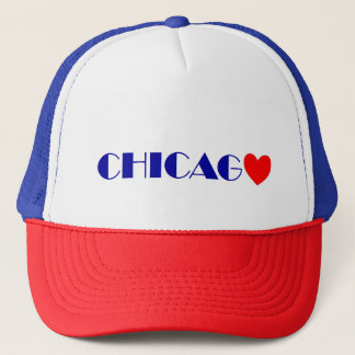 Chicago red heartwood of beech blue letters trucker hat