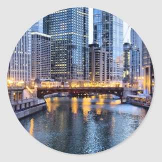 Chicago reflects classic round sticker