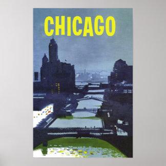 Chicago.  Retro Style Travel poster