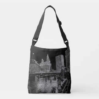 Chicago River 1967 Wrigley Building Sun Times Bldg Crossbody Bag