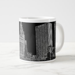 Chicago River 1967 Wrigley Building Sun Times Bldg Giant Coffee Mug