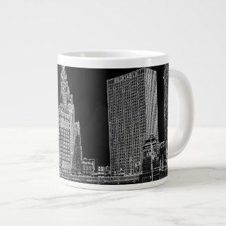 Chicago River 1967 Wrigley Building Sun Times Bldg Giant Coffee Mug