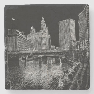 Chicago River 1967 Wrigley Building Sun Times Bldg Stone Coaster