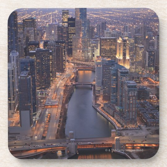 Chicago River and Trump Tower from above Beverage Coaster
