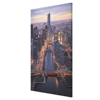 Chicago River and Trump Tower from above Canvas Print