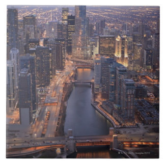 Chicago River and Trump Tower from above Ceramic Tile